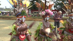 Group of Papuan women in tribal dance singing Stock Footage
