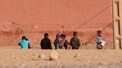 Children of Morocco in Sahara desert village - stock footage