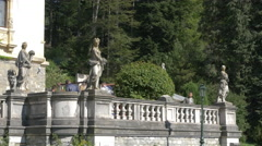 Leisure time on the terrace of Peles Castle Stock Footage
