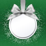 Christmas ball with silver satin ribbon bow on green background Stock Illustration