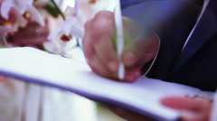 Marriage sign contract Stock Footage