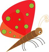 Art design cartoon butterfly - stock illustration