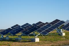 Photovoltaic panels for renewable electric production, - stock photo