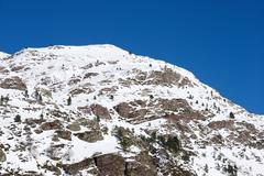 Snowy peak in Aspe Valley, France - stock photo