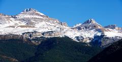 Collarada peak in Canfranc Valley, Aragon, Huesca, Spain. - stock photo