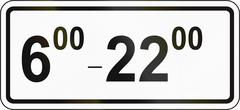 Slovenian road sign - Above sign effective ahead during the times shown - stock illustration