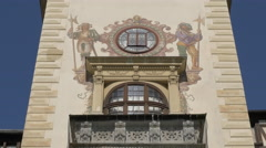 Hand-painted murals on the facade of Peles Castle - stock footage