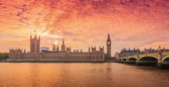 City of Westminster at sunset Stock Footage