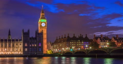 Big ben at night, London - stock footage