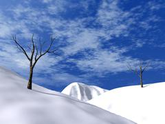 snow-bound hills, brightly-blue sky and asleep trees - stock illustration