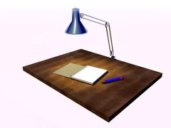 notebook and pencil on a writing desk in the light of lamp - stock illustration