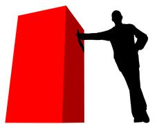 Silhouette of business man, leaning against a cube object on a white backgrou Stock Illustration