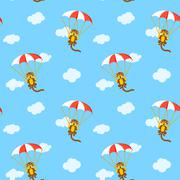 Pattern of monkeys with parachute Piirros