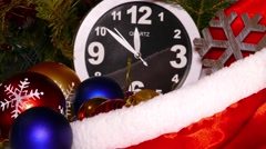 Clock and christmas balls and toys, timelapse, 4k - stock footage
