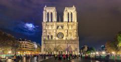 Cathedral of Notre Dame de Paris with Full Moon Stock Footage
