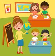 Kids school geography lessons illustration Stock Illustration
