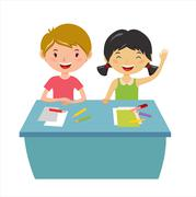 Stock Illustration of Kids school geography lessons illustration