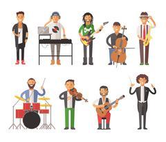 Musicians people flat vector illustration Stock Illustration