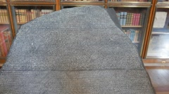 close up of a replica of the rosetta stone in london - stock footage