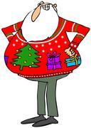 Santa'a ugly Christmas sweater Stock Illustration