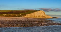 Time lapse of dawn at Seven Sisters Cliffs Stock Footage