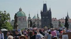 Tourists on Charles Bridge, Prague, slow motion Stock Footage