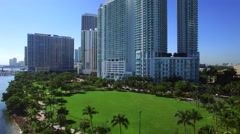 Aerial Miami Margaret Pace Park - stock footage