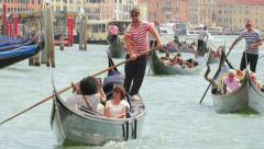 Gondolas on Venice canals, Italy. 4k, steadicam shot Stock Footage