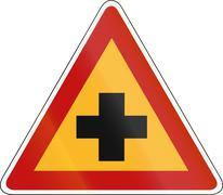 Korean Traffic Safety Sign - Attention - Cross Road - stock illustration