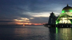 Sunset at Floating Mosque, Straits of Malacca. Stock Footage