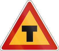 Korean Traffic Safety Sign - Attention - T type Cross Road Stock Illustration