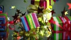 Slow Motion Christmas Gift Boxes Falls and Reflect - stock footage