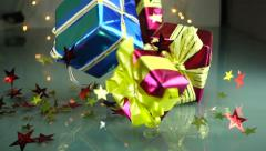 Slow Motion Christmas Gift Boxes Falls - stock footage