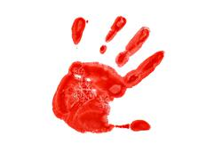 The red imprint of the left hand - stock photo