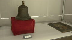 Bell from 1639 and the Mary and baby Jesus icon in Fagaras fortress - stock footage