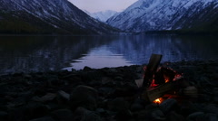 Slow Motion Campfire on the Lake Coas at Twilight Stock Footage