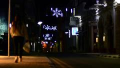 Street at night in Paphos with Christmas-decoration, timelapse Stock Footage