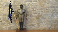 Stock Video Footage of Statue of a soldier with medieval armor in Fagaras fortress