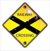Yellow Railway Crossing Sign Piirros