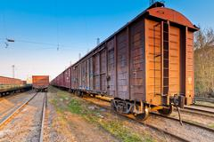 a freight train in the parking lot obsolete - stock photo