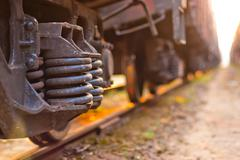 Focus on the wheels freight train is on the tracks Stock Photos