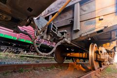 Stock Photo of the coupling of wagons freight train close-up