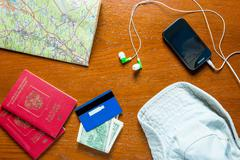 objects prepared for travel view from above - stock photo