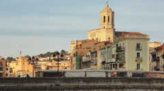 Girona Cathedral landscape Stock Footage