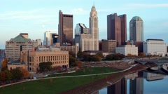 COLUMBUS DOWNTOWN RIVERFRONT_AERIAL_2 Stock Footage