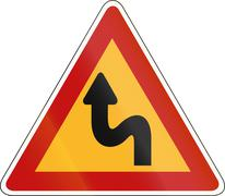 South Korea road sign - Double bend, first to left - stock illustration