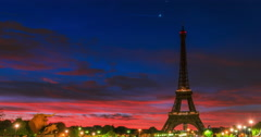 Eiffel Tower, Paris, France, Night to Day Arkistovideo