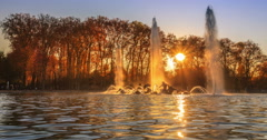 Fountain of Apollo at Sunset Stock Footage