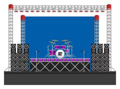Big Concert Stage with Speakers and Drums - stock illustration