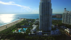 Aerial video Miami Beach South Pointe Drive Stock Footage